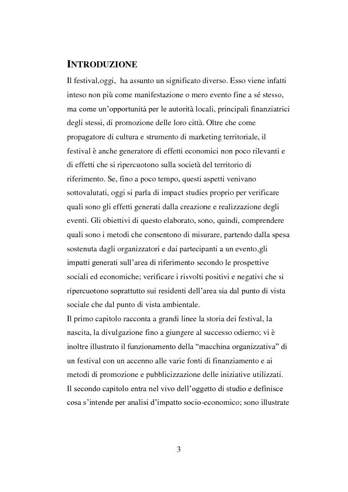 Anteprima della tesi: La valutazione di impatto socio-economico dei Festivals musicali, Pagina 2