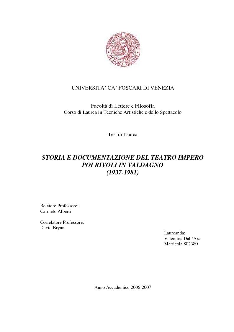 Anteprima della tesi: Storia e documentazione del Teatro Impero poi Rivoli in Valdagno (1937-1981), Pagina 1