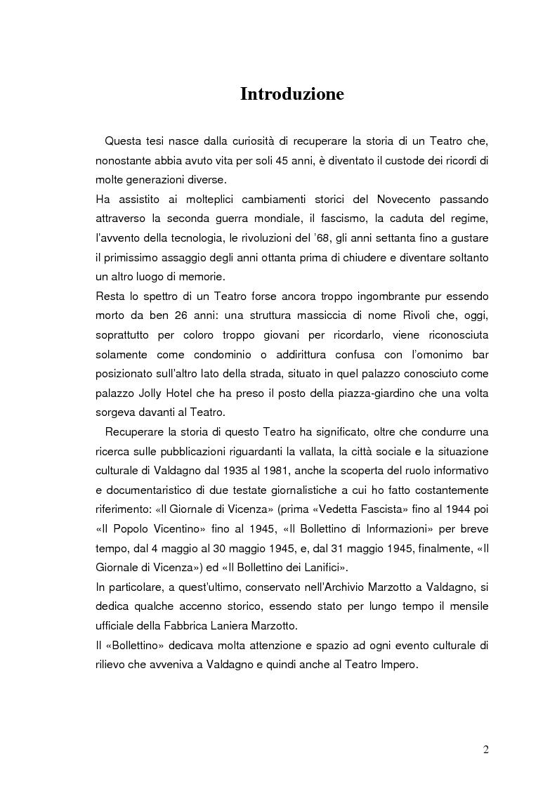 Anteprima della tesi: Storia e documentazione del Teatro Impero poi Rivoli in Valdagno (1937-1981), Pagina 2