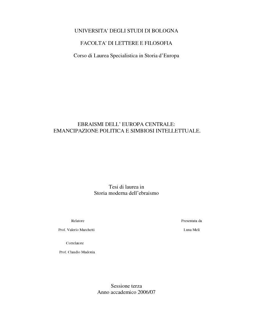 Anteprima della tesi: Ebraismi dell'Europa centrale: emancipazione politica e simbiosi intellettuale, Pagina 1