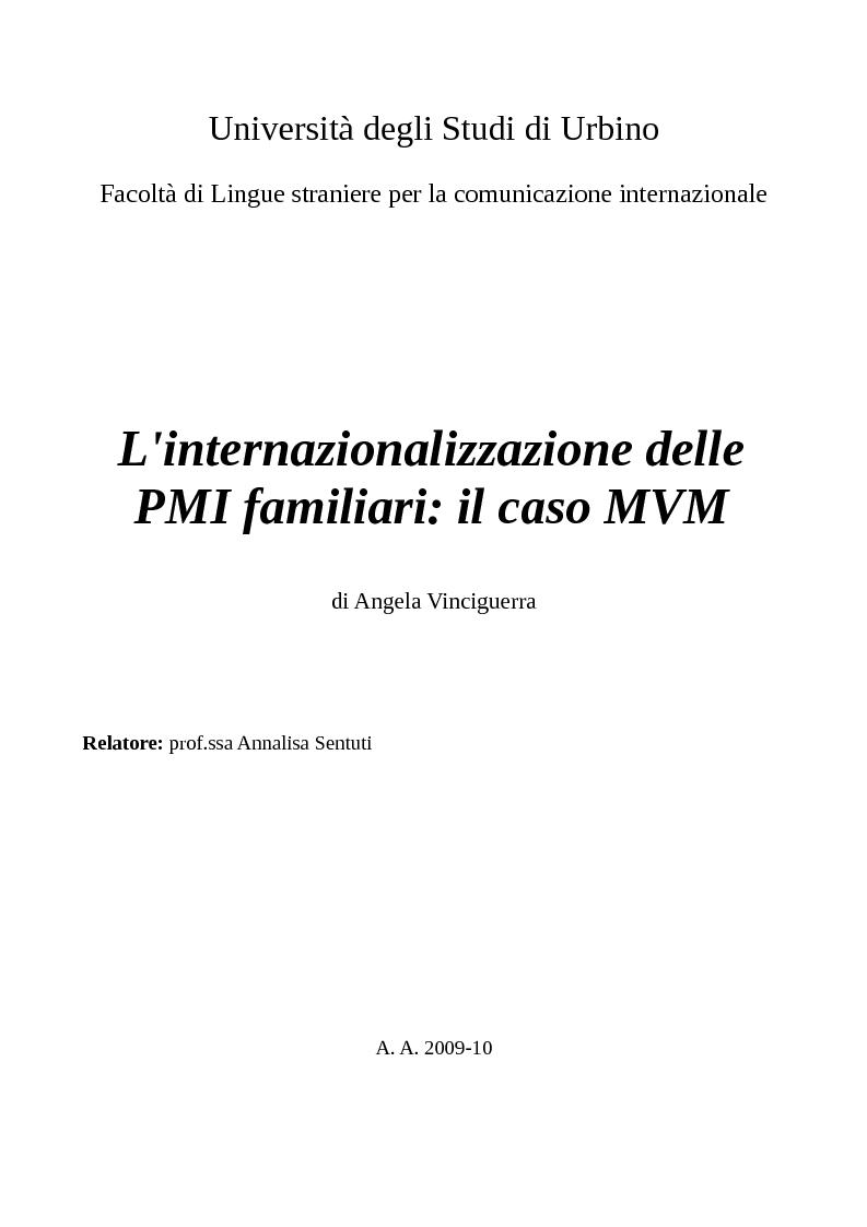 Anteprima della tesi: L'internazionalizzazione delle PMI familiari: il caso MVM, Pagina 1