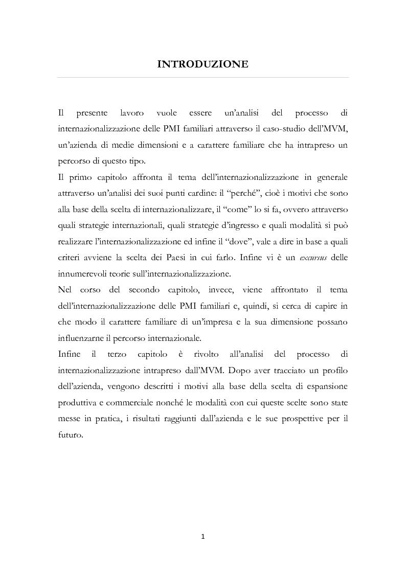 Anteprima della tesi: L'internazionalizzazione delle PMI familiari: il caso MVM, Pagina 2