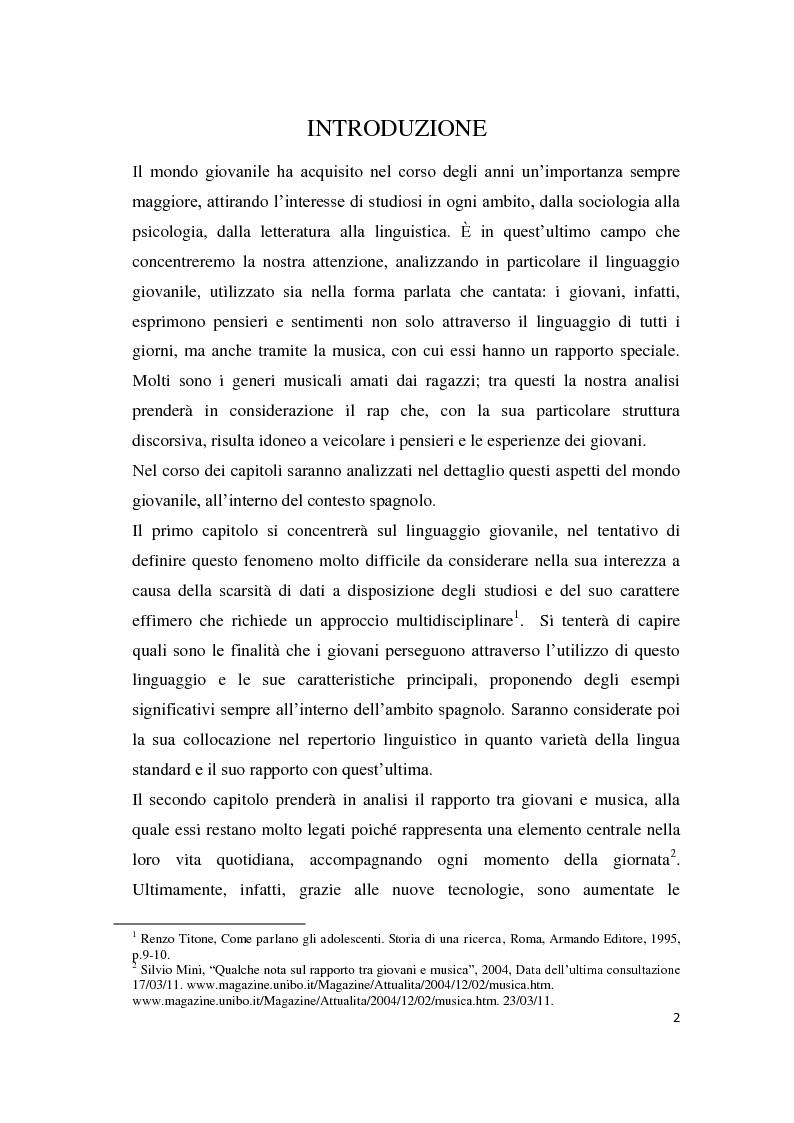 Anteprima della tesi: Gli strumenti espressivi dei giovani: linguaggio e musica analizzati all'interno del contesto spagnolo, Pagina 2