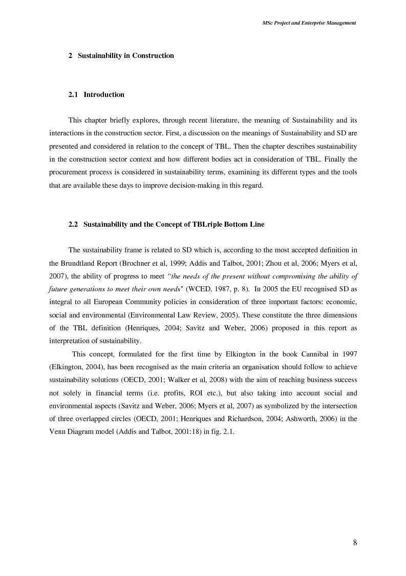 Anteprima della tesi: Sustainable Development: Application and Implications in The Construction Procurement Process According to Contractor Organisations, Pagina 2