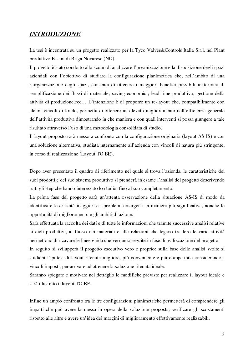 Anteprima della tesi: Analisi dei flussi e degli spazi per lo studio di re-layout di una azienda produttrice di valvole, Pagina 2