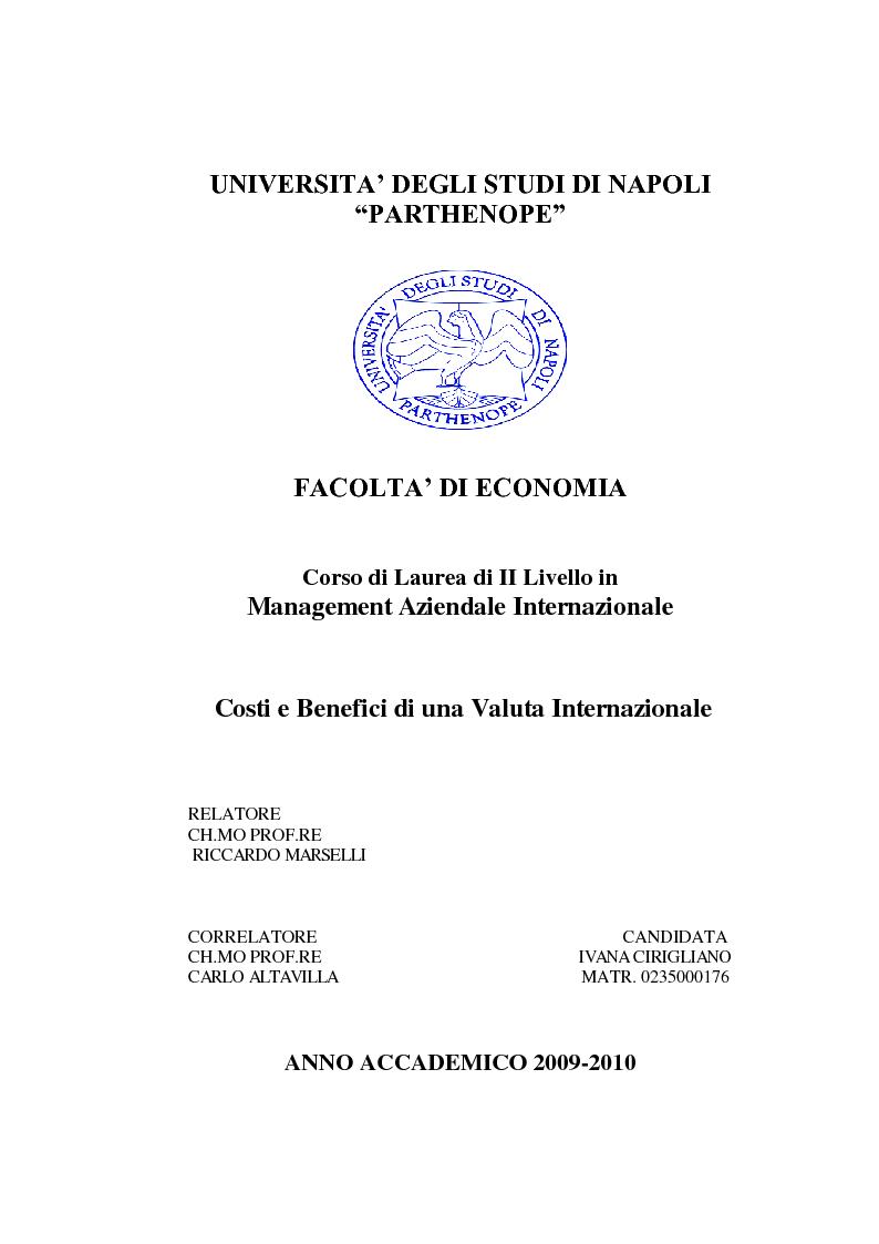 Anteprima della tesi: Costi e Benefici di una Valuta Internazionale, Pagina 1