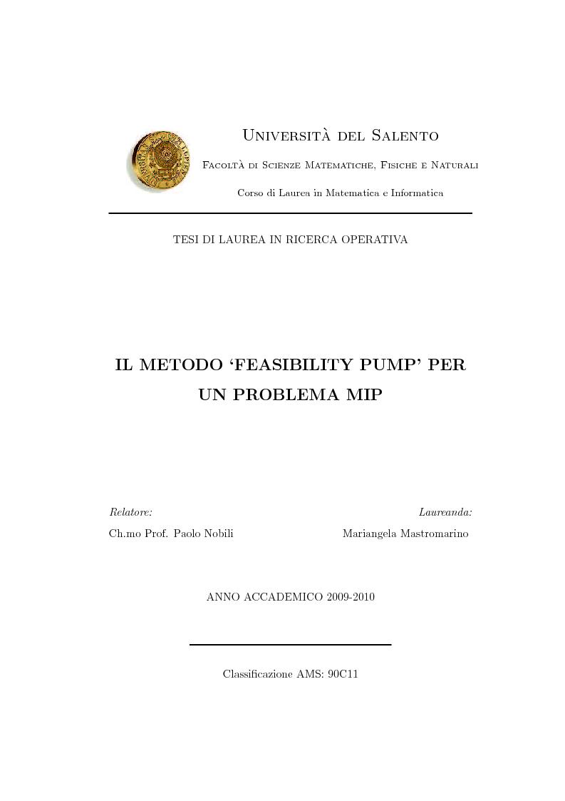 Anteprima della tesi: Il metodo ''Feasibility Pump'' per un problema MIP, Pagina 1