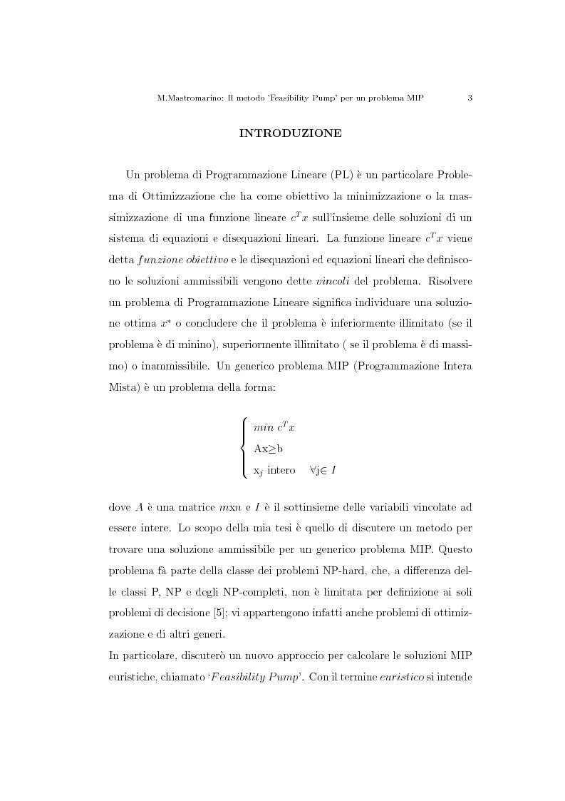 Anteprima della tesi: Il metodo ''Feasibility Pump'' per un problema MIP, Pagina 2
