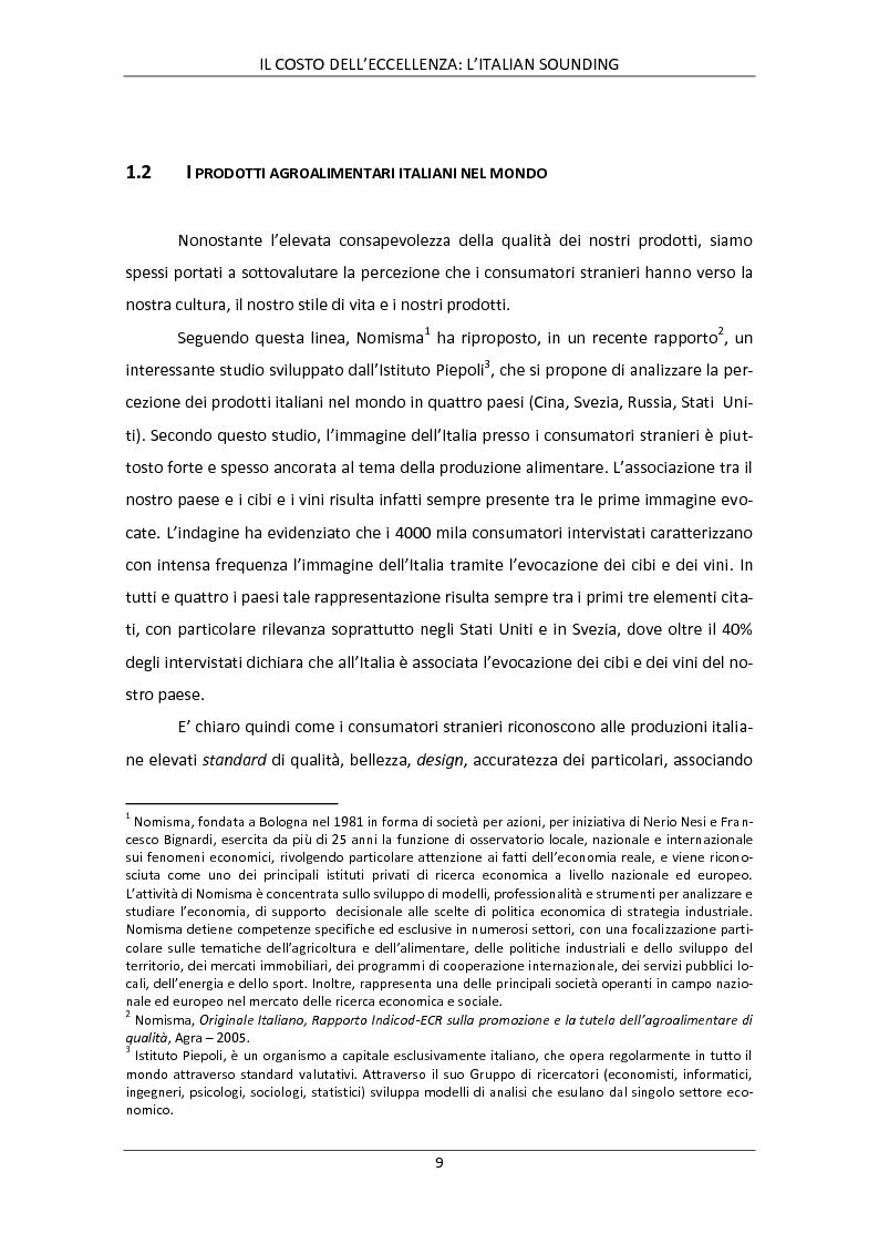 Anteprima della tesi: Il costo dell'eccellenza: l'Italian Sounding, Pagina 6