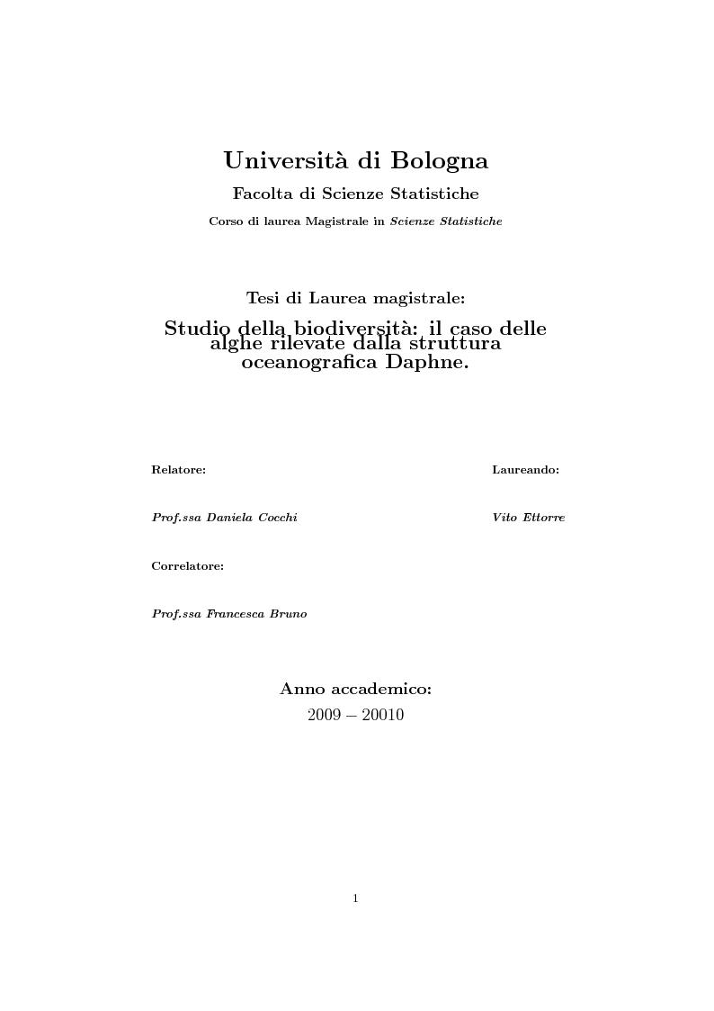 Anteprima della tesi: Studio della biodiversità: il caso delle alghe rilevate dalla struttura oceanograca Daphne., Pagina 1