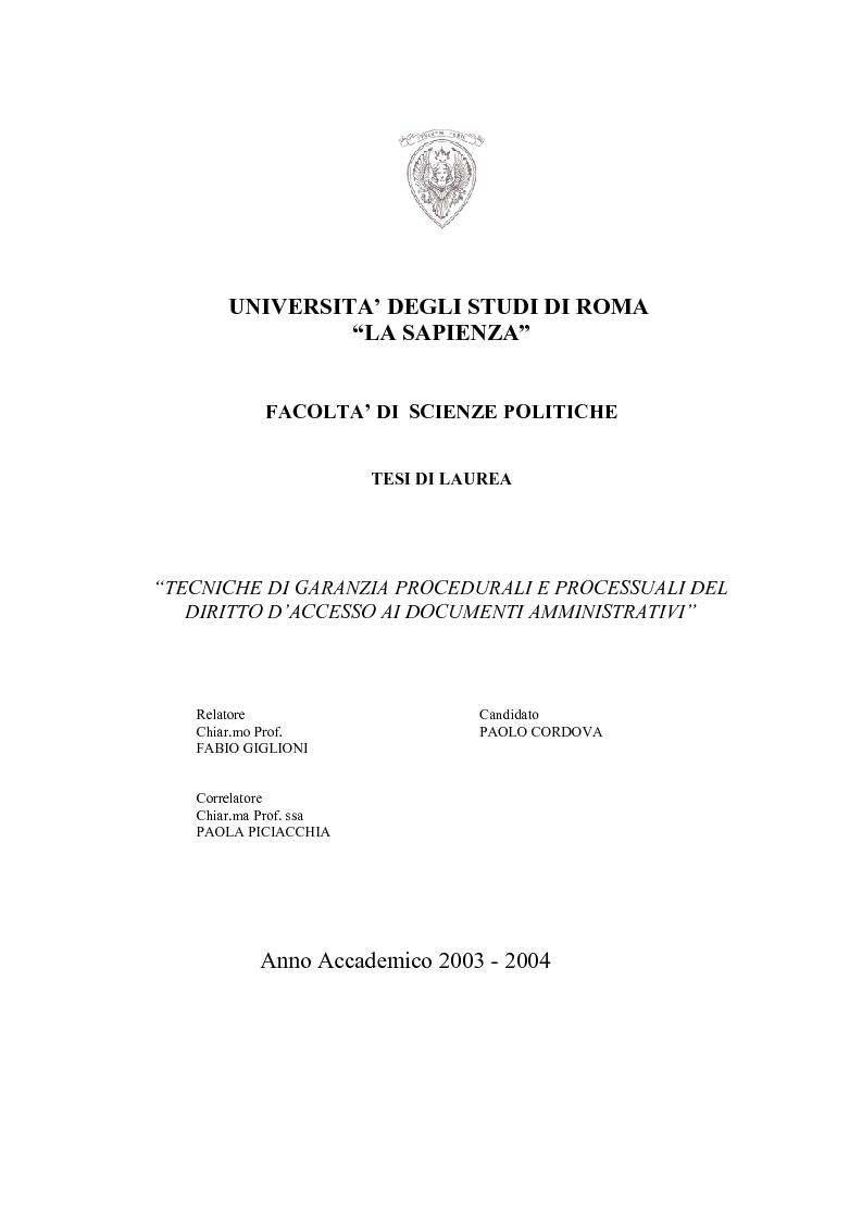 Anteprima della tesi: Tecniche di garanzia procedurali e processuali del diritto d'accesso ai documenti amministrativi, Pagina 1