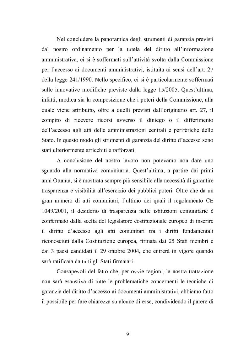 Anteprima della tesi: Tecniche di garanzia procedurali e processuali del diritto d'accesso ai documenti amministrativi, Pagina 10