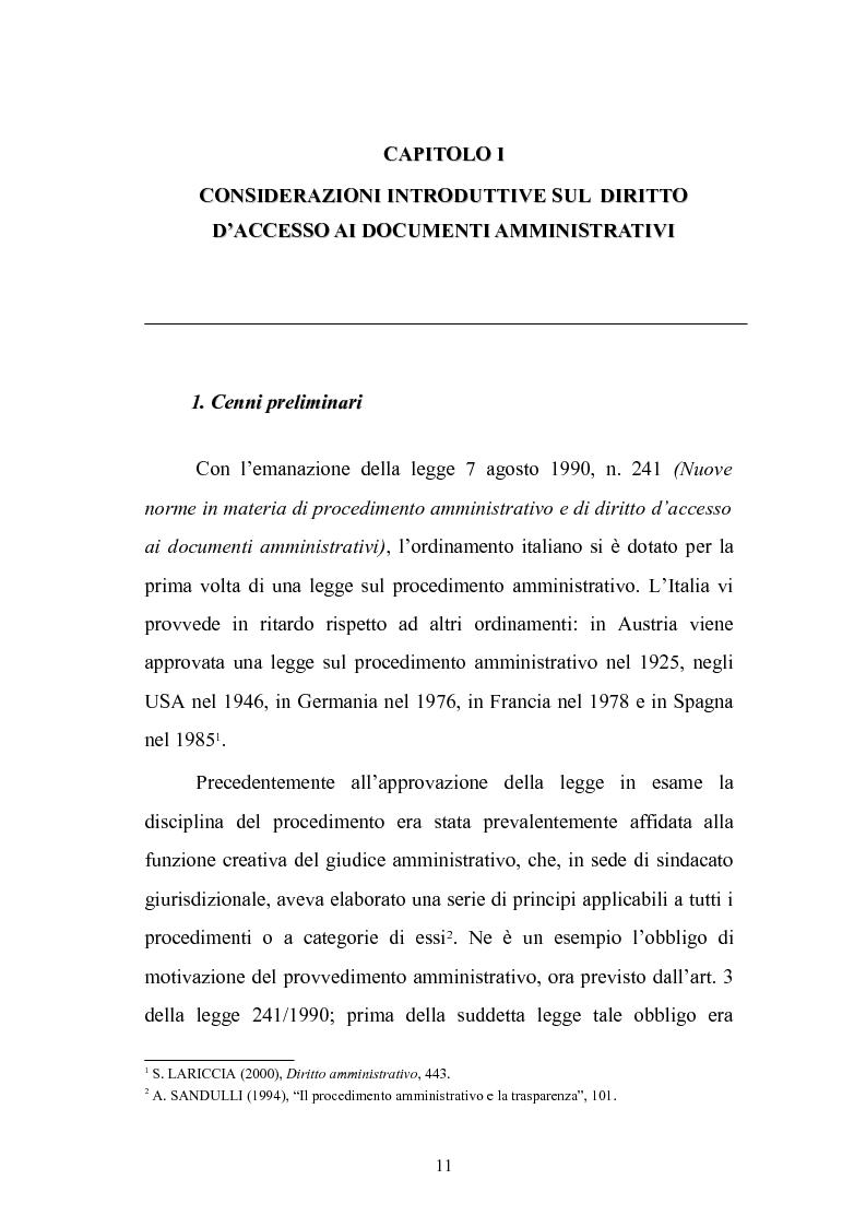 Anteprima della tesi: Tecniche di garanzia procedurali e processuali del diritto d'accesso ai documenti amministrativi, Pagina 12