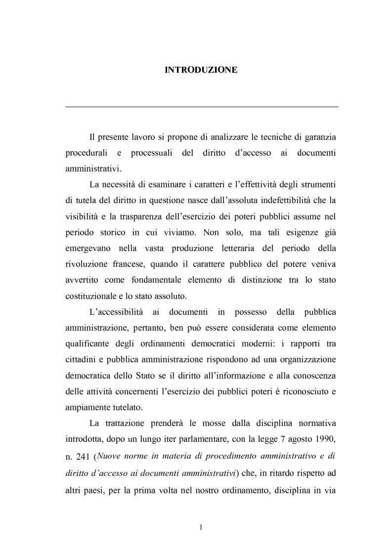 Anteprima della tesi: Tecniche di garanzia procedurali e processuali del diritto d'accesso ai documenti amministrativi, Pagina 2