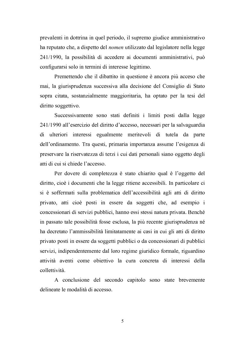 Anteprima della tesi: Tecniche di garanzia procedurali e processuali del diritto d'accesso ai documenti amministrativi, Pagina 6
