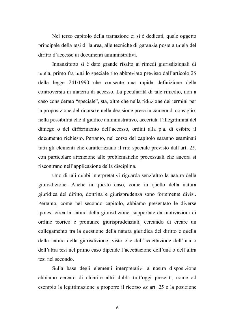 Anteprima della tesi: Tecniche di garanzia procedurali e processuali del diritto d'accesso ai documenti amministrativi, Pagina 7