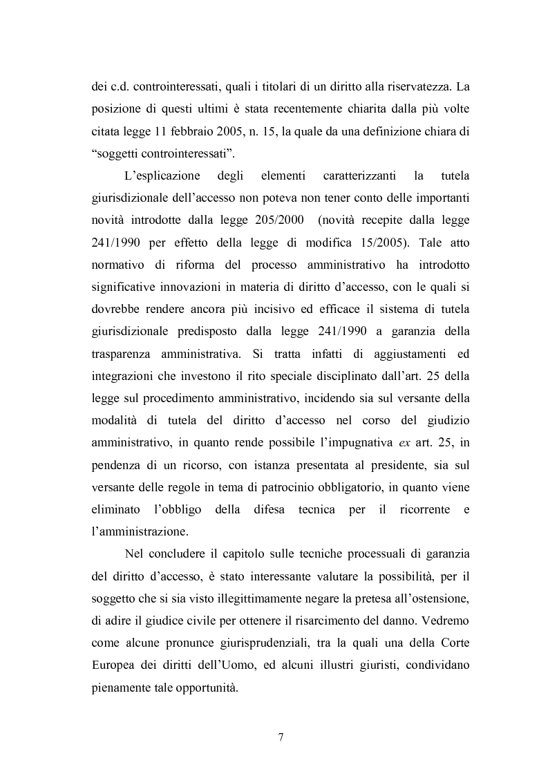 Anteprima della tesi: Tecniche di garanzia procedurali e processuali del diritto d'accesso ai documenti amministrativi, Pagina 8