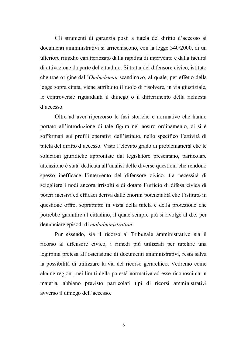 Anteprima della tesi: Tecniche di garanzia procedurali e processuali del diritto d'accesso ai documenti amministrativi, Pagina 9
