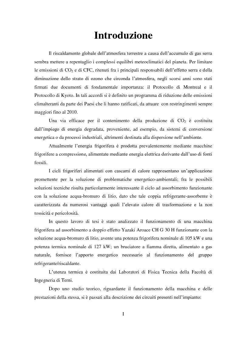 Anteprima della tesi: Messa a punto di un sistema di acquisizione dati per la valutazione delle prestazioni di una macchina ad assorbimento, Pagina 2
