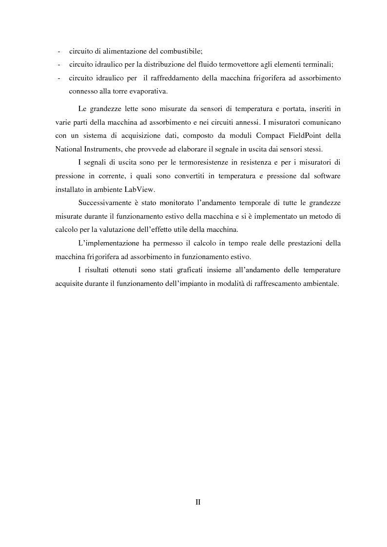 Anteprima della tesi: Messa a punto di un sistema di acquisizione dati per la valutazione delle prestazioni di una macchina ad assorbimento, Pagina 3