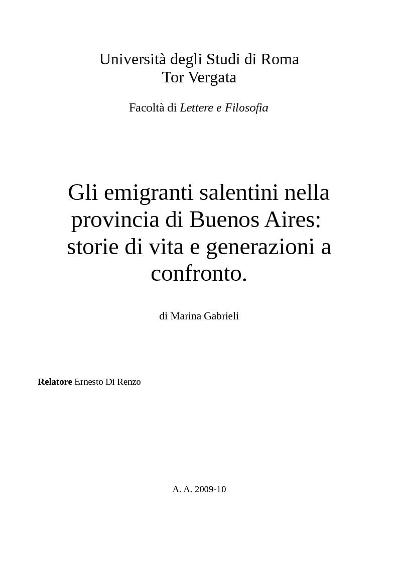 Anteprima della tesi: Gli emigranti salentini nella provincia di Buenos Aires: storie di vita e generazioni a confronto., Pagina 1