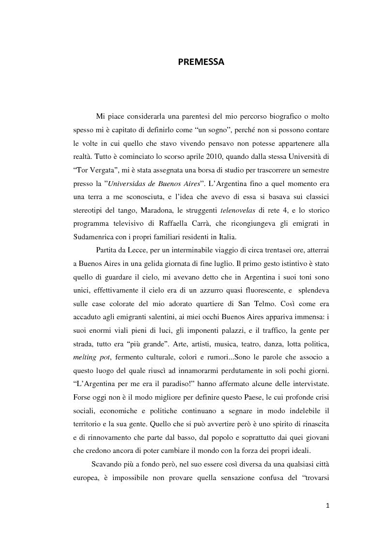 Anteprima della tesi: Gli emigranti salentini nella provincia di Buenos Aires: storie di vita e generazioni a confronto., Pagina 2