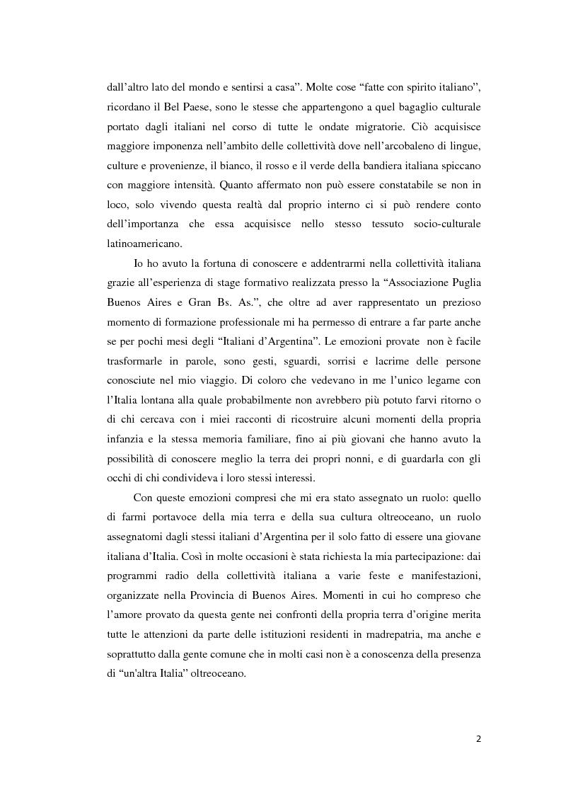Anteprima della tesi: Gli emigranti salentini nella provincia di Buenos Aires: storie di vita e generazioni a confronto., Pagina 3