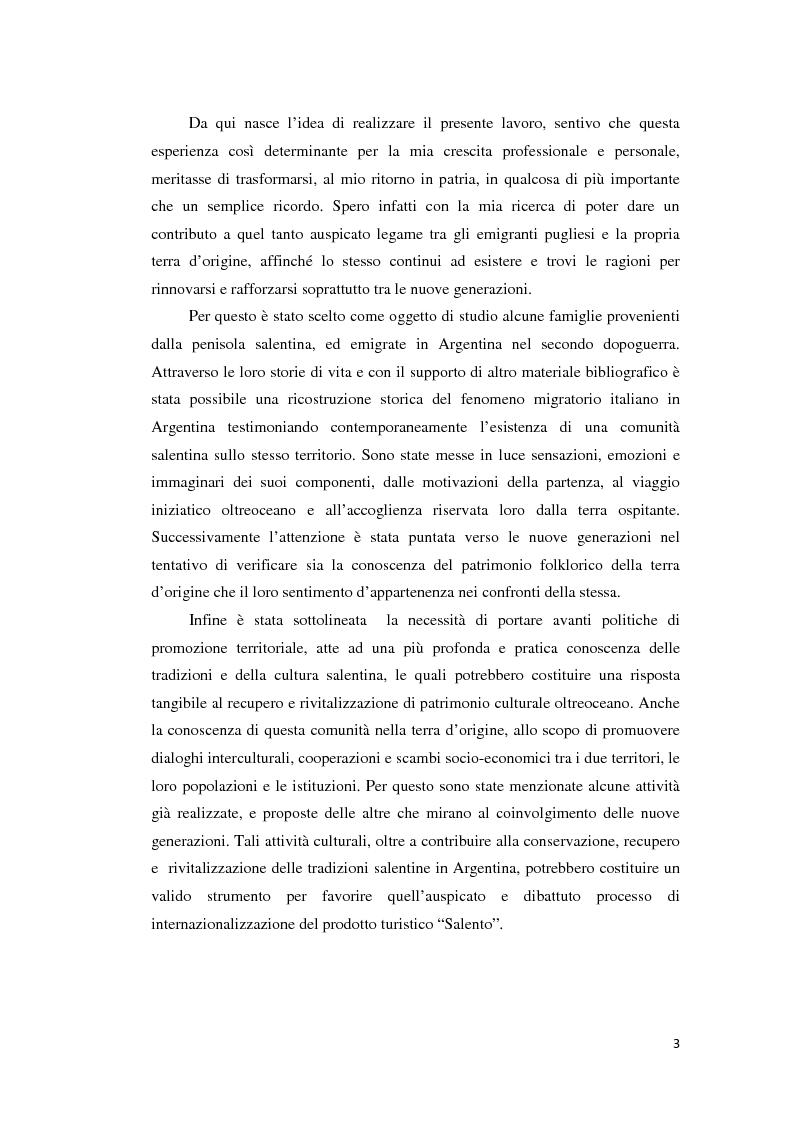 Anteprima della tesi: Gli emigranti salentini nella provincia di Buenos Aires: storie di vita e generazioni a confronto., Pagina 4