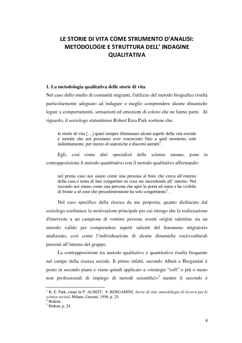 Anteprima della tesi: Gli emigranti salentini nella provincia di Buenos Aires: storie di vita e generazioni a confronto., Pagina 5
