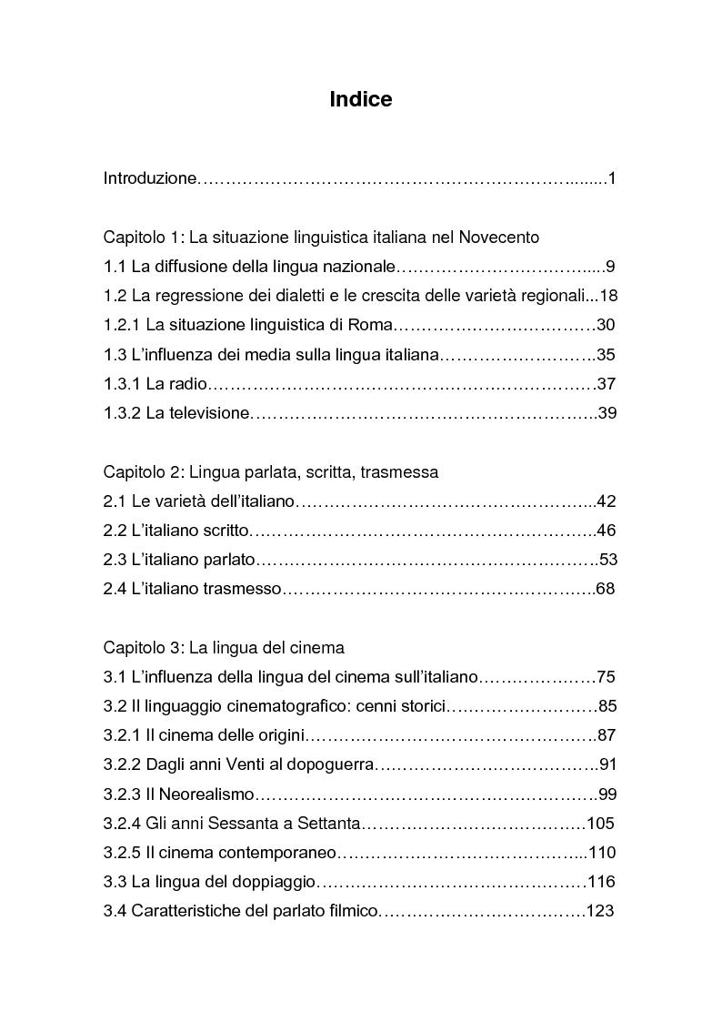 """Indice della tesi: Dalla pagina allo schermo: analisi linguistica de """"La romana"""" di Alberto Moravia e delle sue trasposizioni cinematografiche, Pagina 1"""