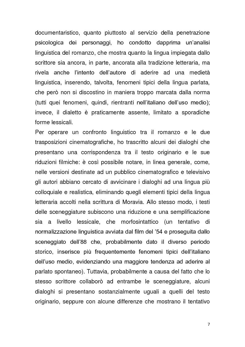 """Anteprima della tesi: Dalla pagina allo schermo: analisi linguistica de """"La romana"""" di Alberto Moravia e delle sue trasposizioni cinematografiche, Pagina 8"""