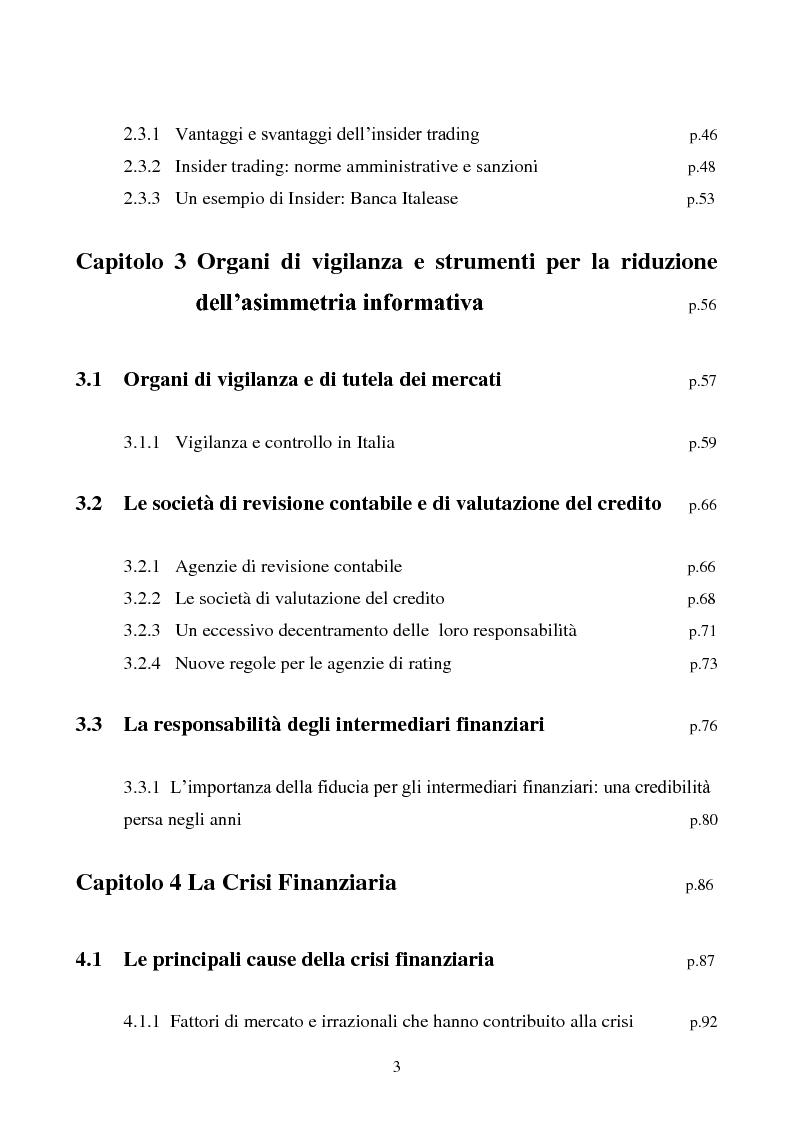 Indice della tesi: L'importanza dell'informazione all'interno dei mercati borsistici, Pagina 2