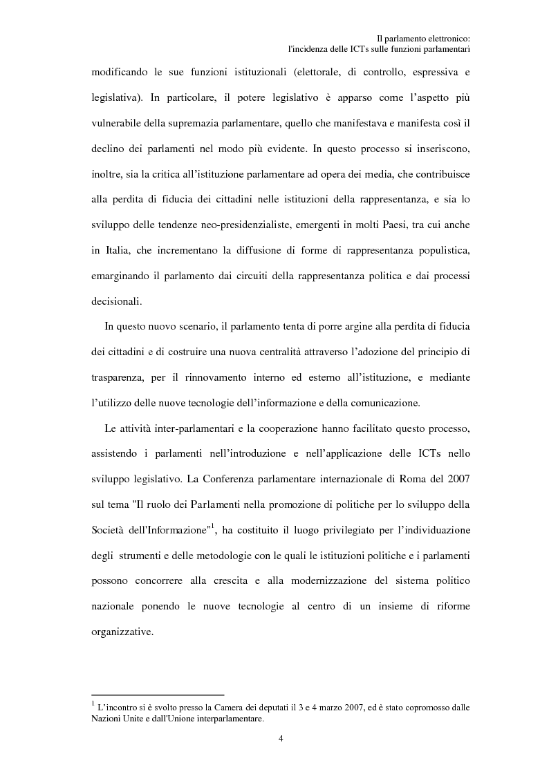 Anteprima della tesi: Il parlamento elettronico: l'incidenza delle ICTs sulle funzioni parlamentari, Pagina 3