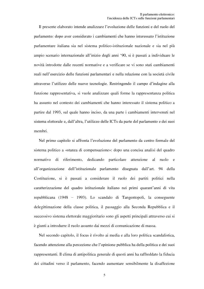 Anteprima della tesi: Il parlamento elettronico: l'incidenza delle ICTs sulle funzioni parlamentari, Pagina 4