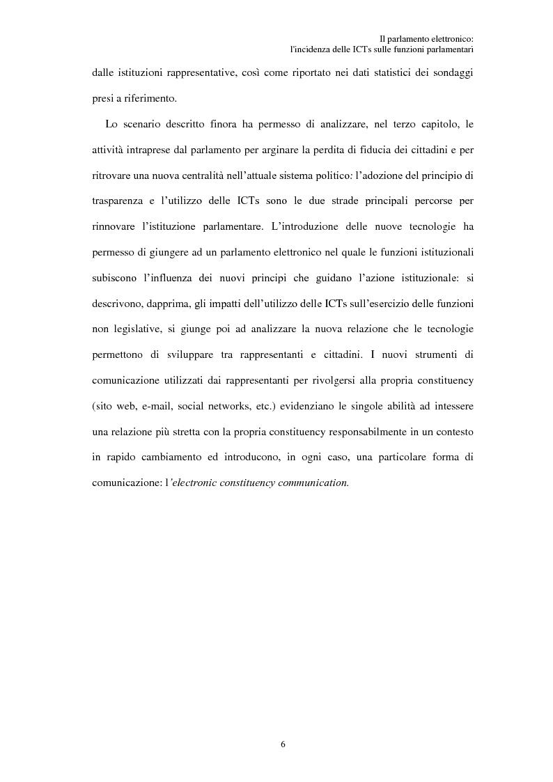 Anteprima della tesi: Il parlamento elettronico: l'incidenza delle ICTs sulle funzioni parlamentari, Pagina 5