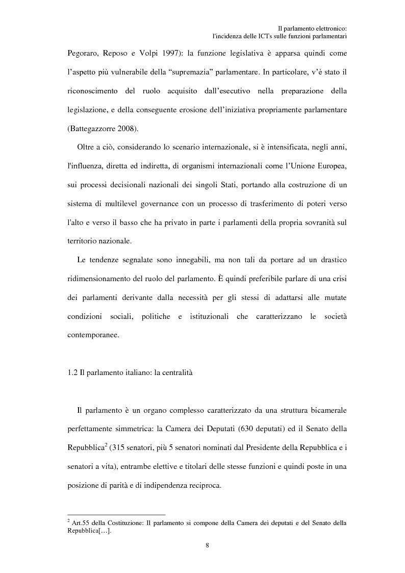 Anteprima della tesi: Il parlamento elettronico: l'incidenza delle ICTs sulle funzioni parlamentari, Pagina 7