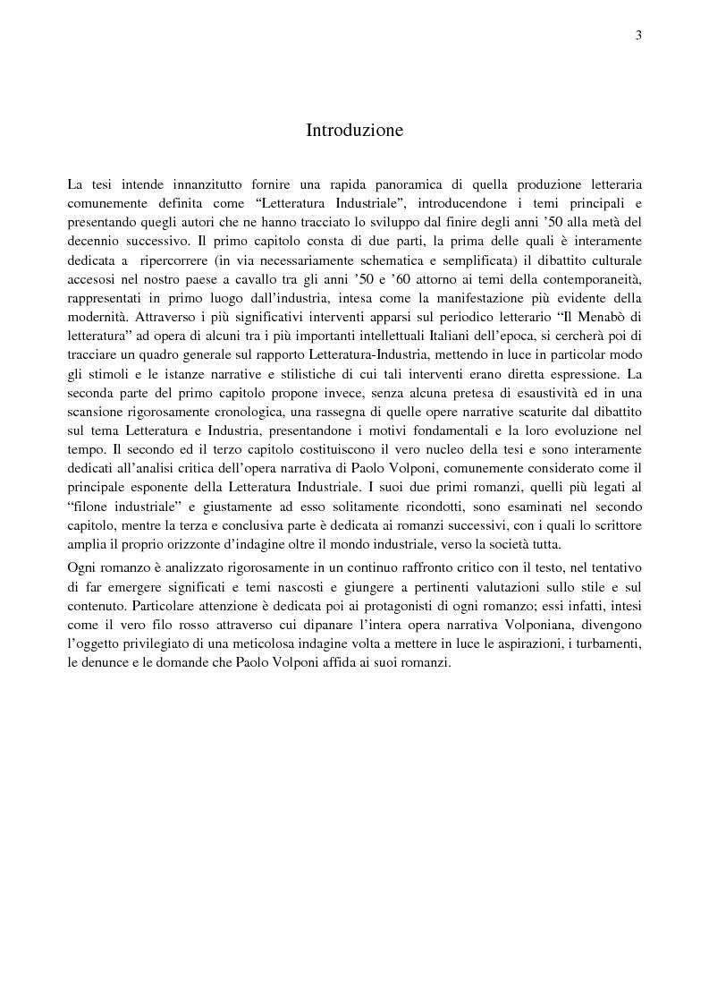 Anteprima della tesi: Paolo Volponi, la ''Letteratura Industriale'' e i ''diversi'' Volponiani, Pagina 2