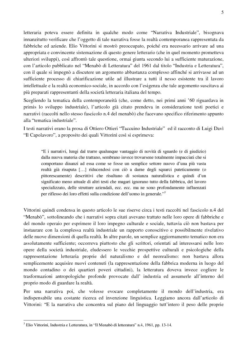 Anteprima della tesi: Paolo Volponi, la ''Letteratura Industriale'' e i ''diversi'' Volponiani, Pagina 4