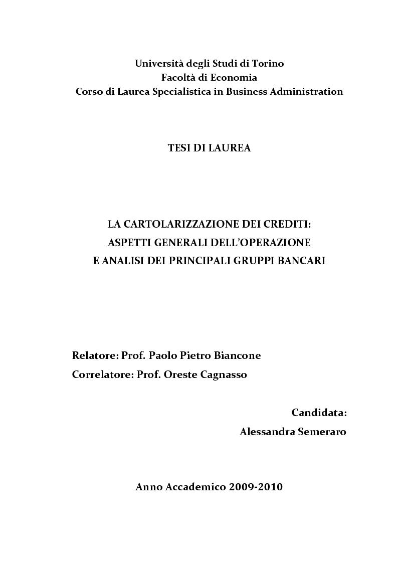 Anteprima della tesi: La cartolarizzazione dei crediti: aspetti generali dell'operazione e analisi dei principali gruppi bancari, Pagina 2