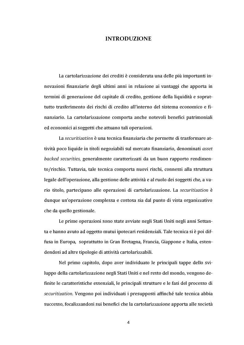 Anteprima della tesi: La cartolarizzazione dei crediti: aspetti generali dell'operazione e analisi dei principali gruppi bancari, Pagina 3