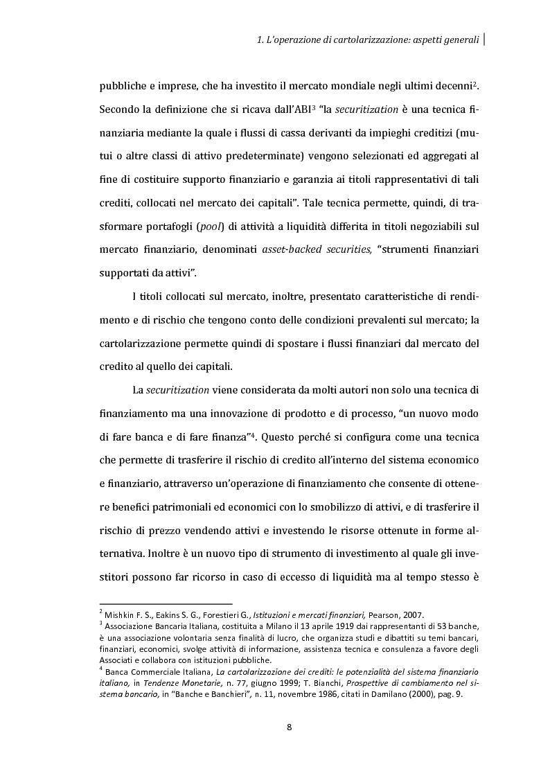 Anteprima della tesi: La cartolarizzazione dei crediti: aspetti generali dell'operazione e analisi dei principali gruppi bancari, Pagina 7