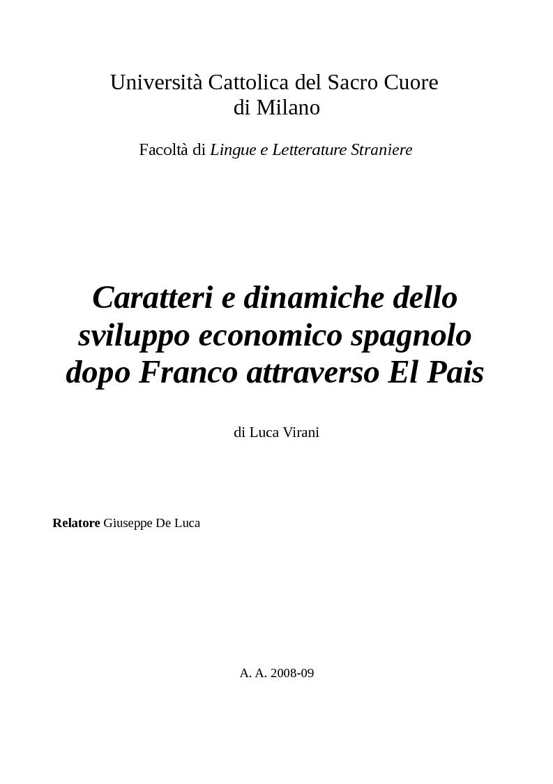 Anteprima della tesi: Caratteri e dinamiche dello sviluppo economico spagnolo dopo Franco attraverso El Pais, Pagina 1
