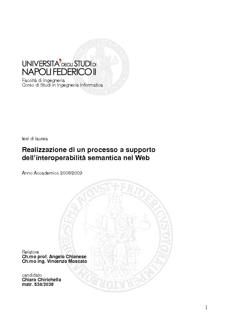 Anteprima della tesi: Realizzazione di un processo a supporto dell'interoperabilità semantica nel Web, Pagina 1