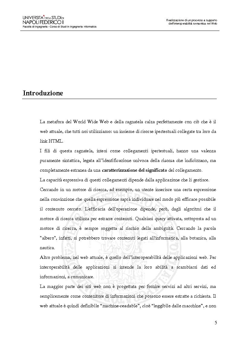 Anteprima della tesi: Realizzazione di un processo a supporto dell'interoperabilità semantica nel Web, Pagina 2