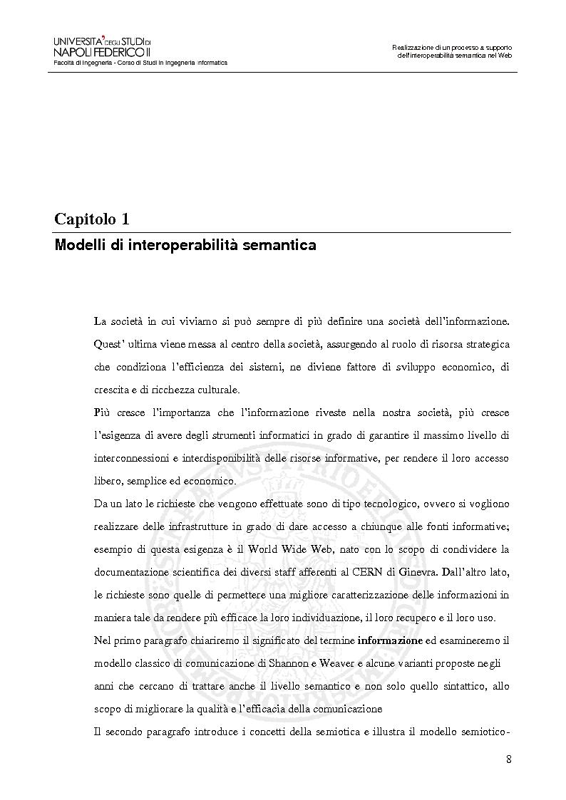 Anteprima della tesi: Realizzazione di un processo a supporto dell'interoperabilità semantica nel Web, Pagina 5