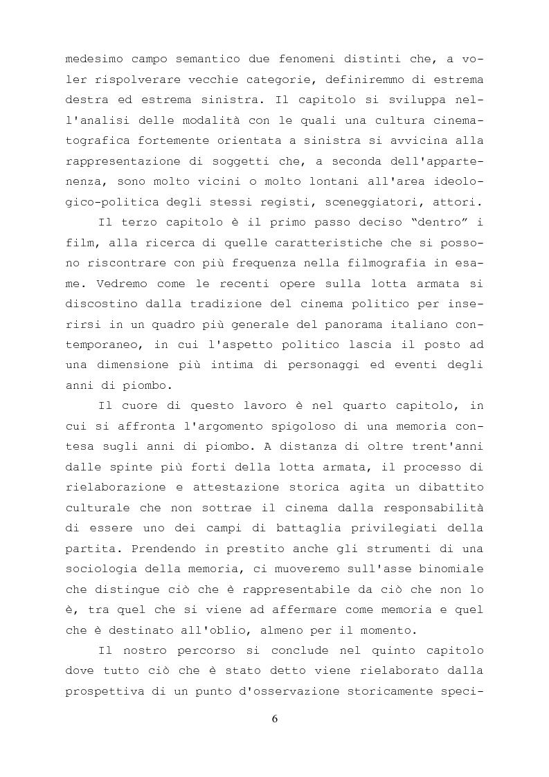 Anteprima della tesi: Gli anni di piombo visti da qui: rappresentazione e riconciliazione nel cinema italiano del terzo millennio, Pagina 4