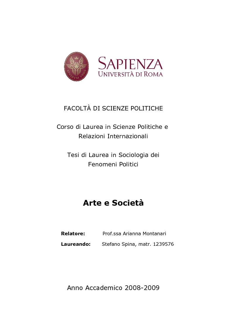 Anteprima della tesi: Arte e Società, Pagina 1