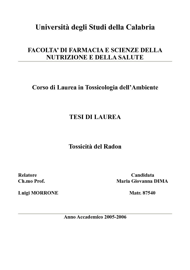 Anteprima della tesi: Tossicità del Radon, Pagina 1