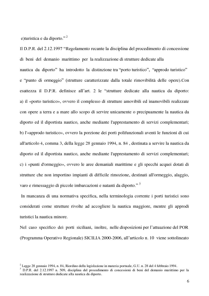 Anteprima della tesi: Due realtà del turismo nautico siciliano a confronto: il ''Porto dell'Etna'' e il ''Marina di Portorosa'', Pagina 3
