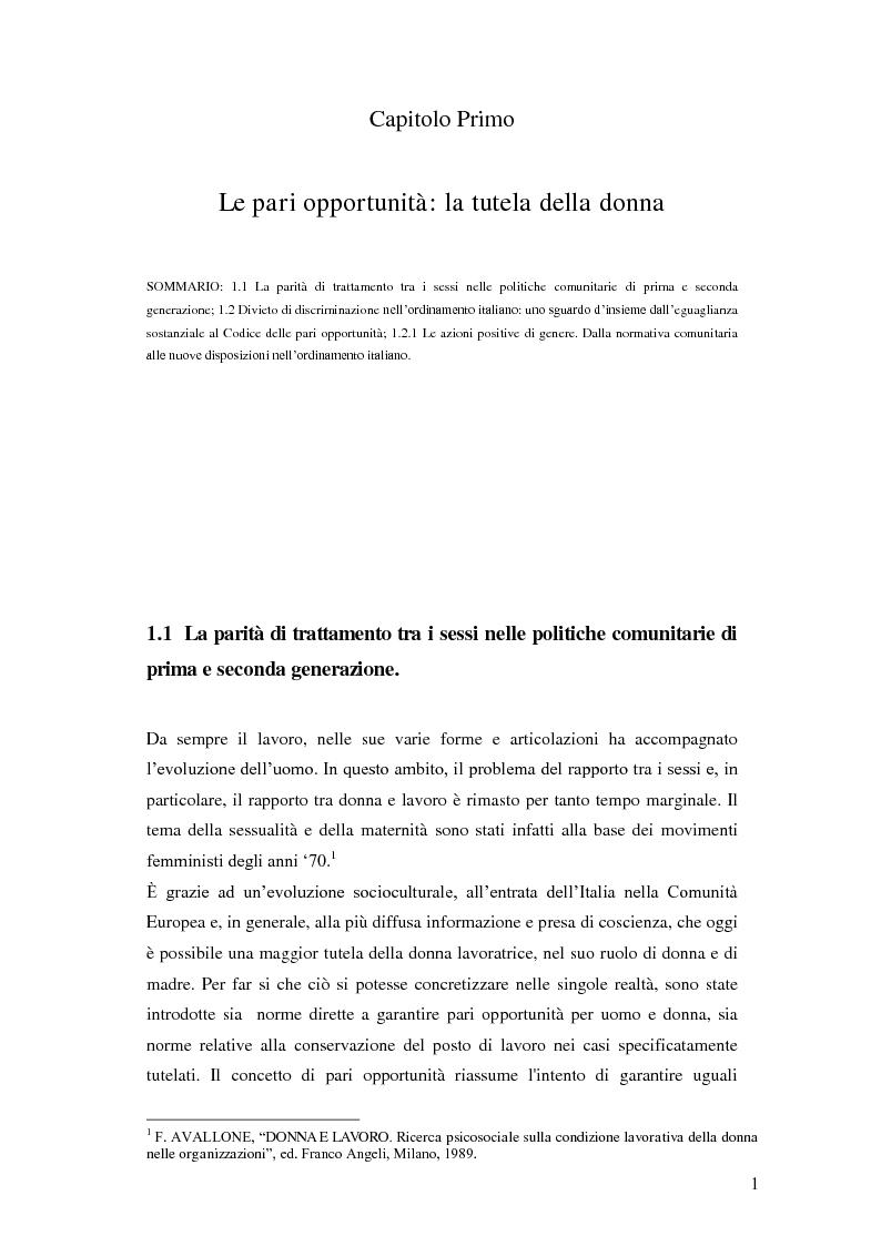Anteprima della tesi: La tutela della lavoratrice madre nell'ordinamento nazionale, Pagina 2